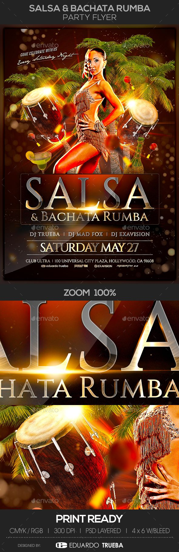Salsa & Bachata #Rumba #Party #Flyer - Events Flyers Download here: https://graphicriver.net/item/salsa-bachata-rumba-party-flyer/19594121?ref=alena994