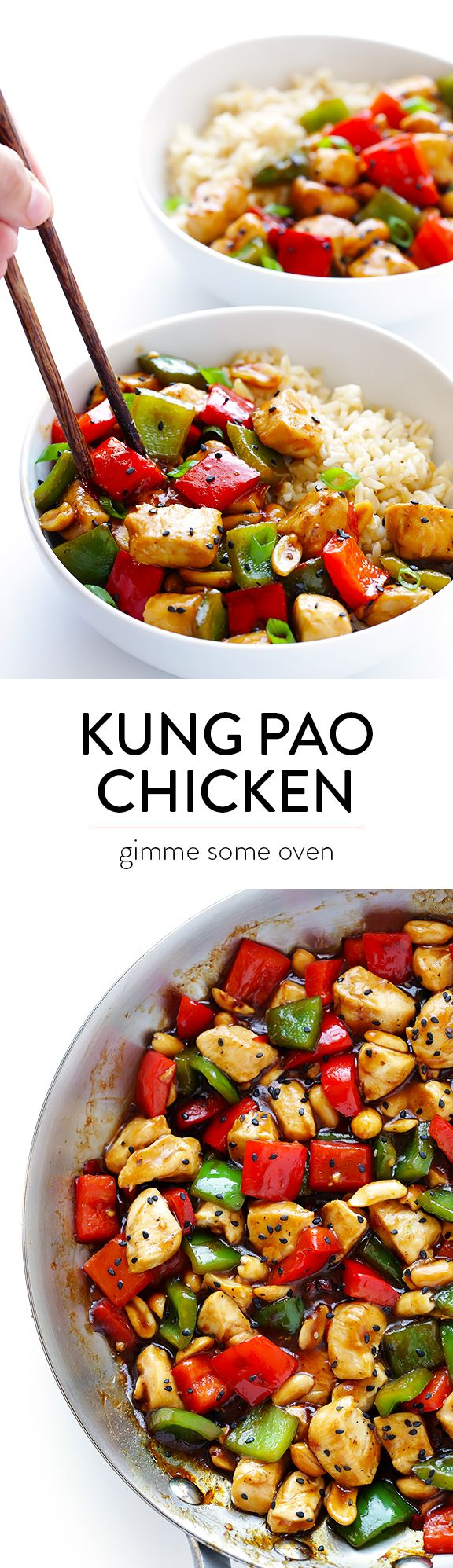 Kung Pao Chicken -- this restaurant favorite is super easy to make, and ready to go in about 20 minutes! | gimmesomeoven.com
