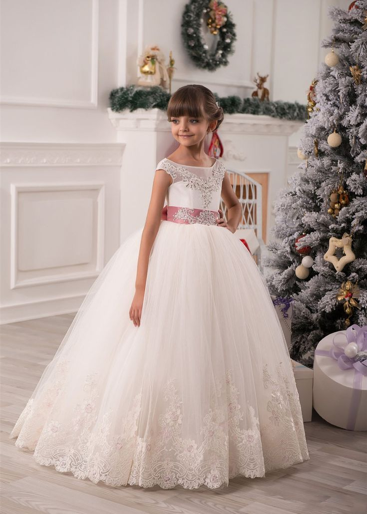 Ball Gown Scoop Neckline Keyhole Back Beach Garden General Plus Size Spring Summer Fall Knothouses Misdress Princharlie Annshome Autoalive Tulle Lace Floor Length Flower Girl Dress Knothouses Misdress Princharlie Annshome Autoalive