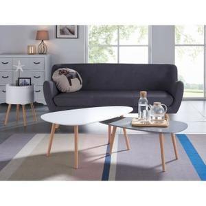 KIVI Lot de 2 tables basses gigognes style scandinave en MDF laqué blanc et gris mat - L 98 x l 61 / L 88 x l 48 cm