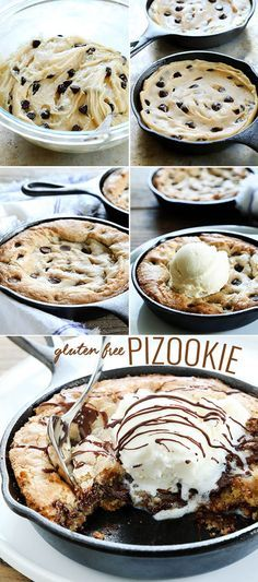 Who can resist a warm, fresh chocolate chip cookie skillet pizza topped with cool vanilla ice cream? The famous BJ's dessert is now a gluten free pizookie! http://glutenfreeonashoestring.com/gluten-free-pizookie/