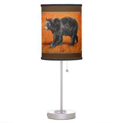 Black Bear in Autumn Orange Desk Lamp - animal gift ideas animals and pets diy customize