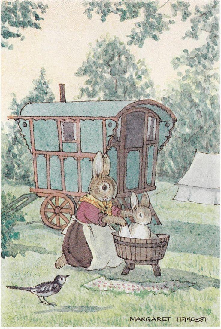Bunny having a bath outside its (gypsy?) caravan illustration by Margaret Tempest