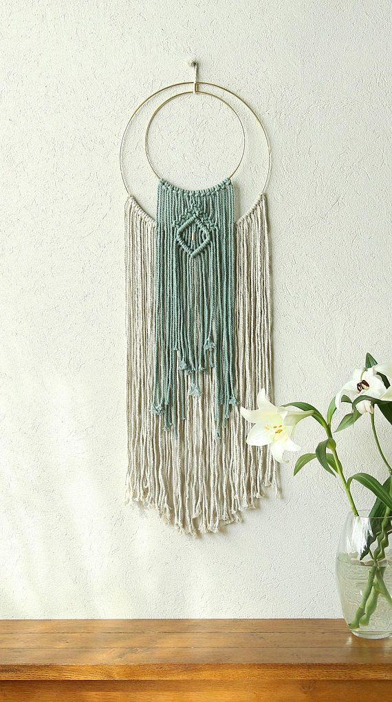 Gold Ring Wall Decor Macrame Wall Hanging Home Decor Off White
