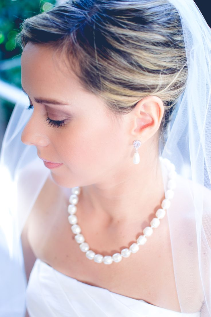 Bridal wearing Camila Earrings and Baroque Pearl Necklace