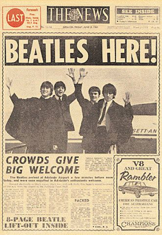 Beatles in Adelaide 12 June 1964. Front page news! I lived here when they came to Adelaide