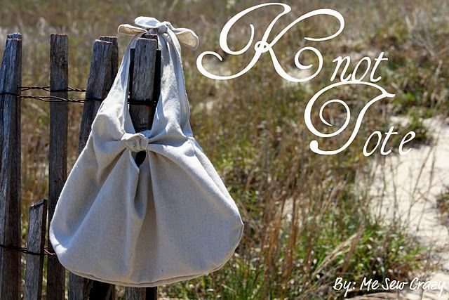 Knot Tote Bag - Free Sewing Pattern  by Me Sew Crazy