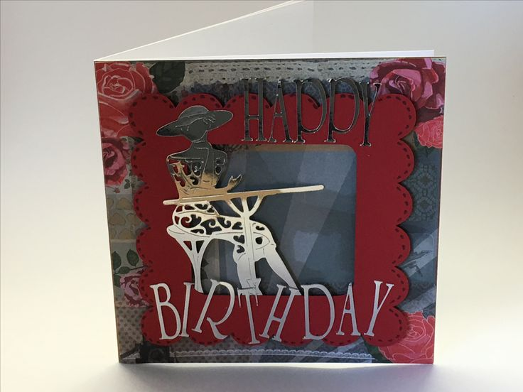 Birthday card made using items from scan and cut and tattered lace USB