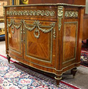 Louis XVI Style Ormolu And Marquetry Decorated Commode