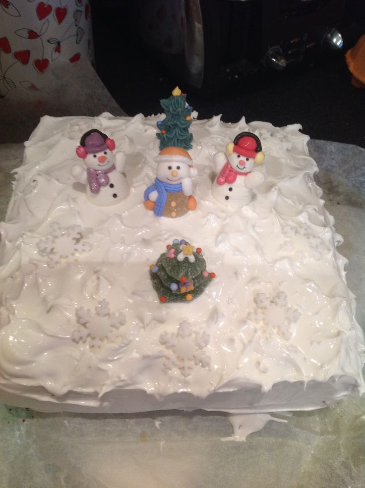 Fruit Christmas cake - Classic snow scene with edible decorations
