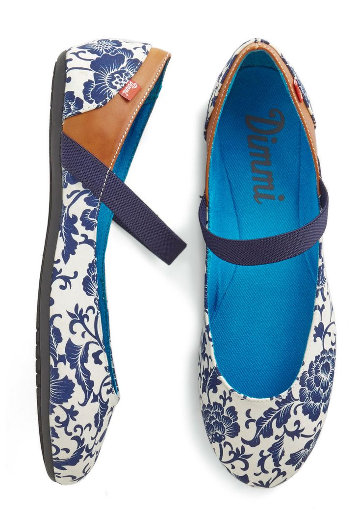 Fluttering Down Fifth Ave Flats. Youre feeling light on your feet today, ambling down the avenue in these floral flats by Dimmi! #multi #modcloth