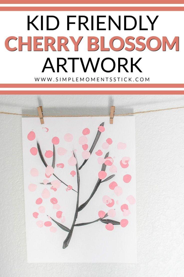 Kid Friendly Diy Cherry Blossom Artwork Simple Moments Stick Simplifying Motherhood Cherry Blossom Art Kid Friendly Diy Family Tree Project