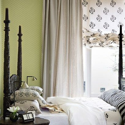 Green Bedroom with Ruched Blinds