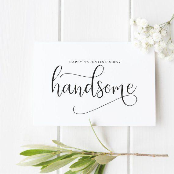 Glücklicher Valentinstag hübsch, Valentinskarte für Freund, Freund, Ehemann, ihn, einfache Kalligraphie-Karte, ich liebe dich Karte   – DIY Cards