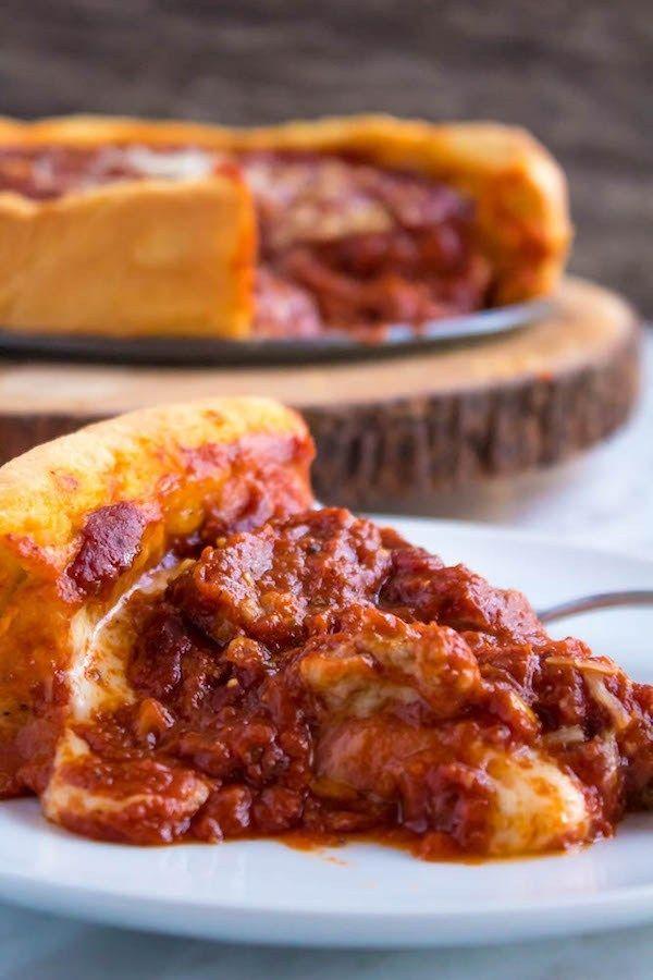 Chicago Deep Dish Pizza Recipe Deep Dish Pizza Recipe Food