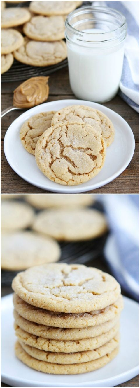 Soft Peanut Butter Cookies on twopeasandtheirpod.com The BEST peanut butter cookie recipe! Make a batch today!