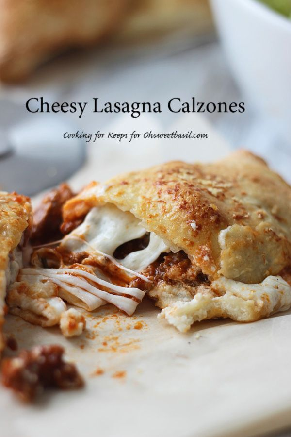Cheesy Lasagna Calzones baby!!! In. Love. With. These!! ohsweetbasil.com