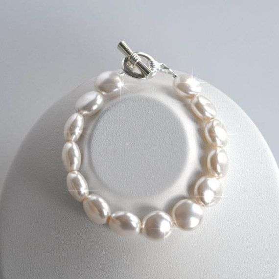 Handmade Swarovski White Coin Pearl Bridal Bracelet Bridal