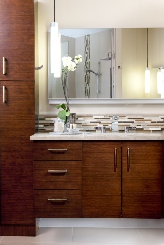 Bamboo Master Suite contemporary bathroom - glass tile and cabinetry