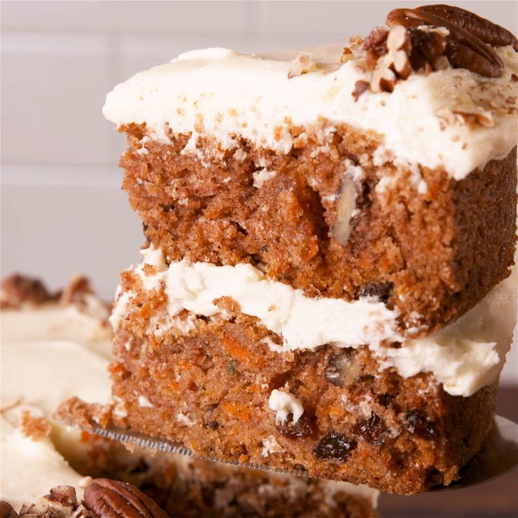 Carrot cake and cream cheese frosting go together like peanut butter and jelly. #food #baking #easter #cake #dessert