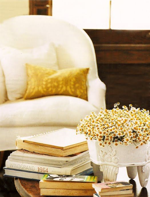 yellowDesign Inspiration, Coffee Tables, Interiors Design, Living Room, Daisies, Dresses Design, Reading Chairs, Flower, Mustard Yellow