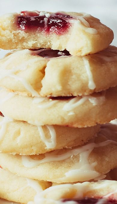 Raspberry-Almond Shortbread Cookies- try with almond flour- make it gf.[['