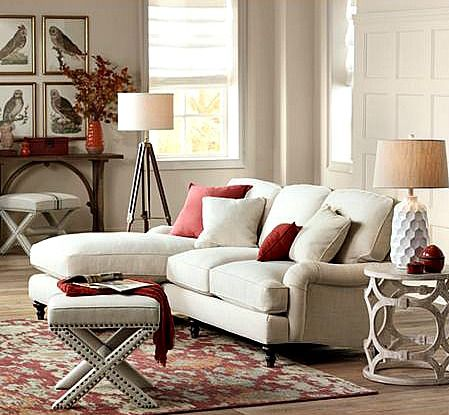 Small sectional with chaise and cozy loveseat.
