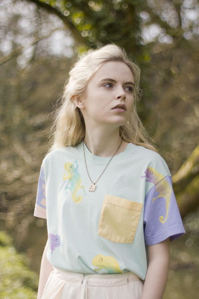 Hand Painted Chameleon Colour Block Tee