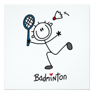 Basic Male Stick Figure Badminton 13 Cm X 13 Cm Square Invitation Card