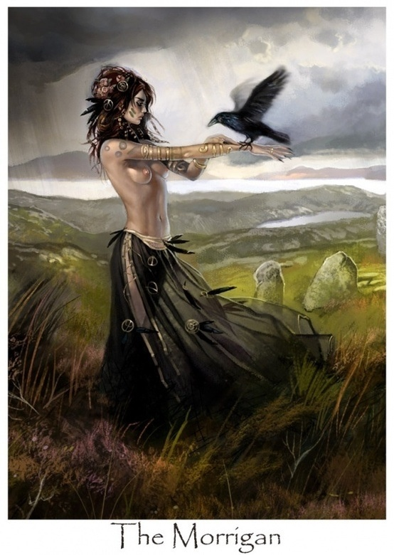 The Morrígan is a goddess of battle, strife, and sovereignty. She sometimes appears in the form of a crow, flying above the warriors, and in the Ulster cycle she also takes the form of an eel, a wolf and a cow. She is generally considered a war deity comparable with the Germanic Valkyries.    She is often depicted as a trio of goddesses, all sisters; the most common combinations are Badb, Macha and Nemain; or Badb, Macha and Anand; Anand is also given as an alternate name for Morrigu.
