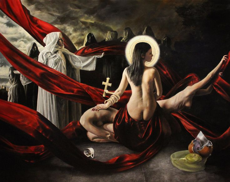 Christopher Pew - red scarves, white-robed figures, nude, religious imagery
