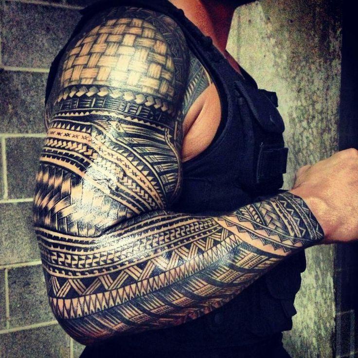 The greatest Samoan sleeve ever #polynesian #tattoo