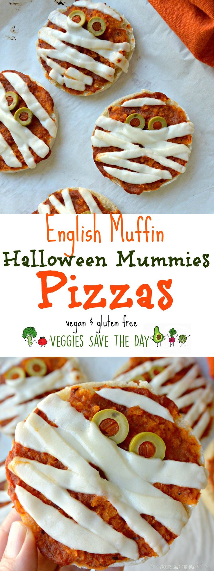 These English Muffin Pizzas are vegan and gluten free. Turn them into mini mummies for some Halloween fun!