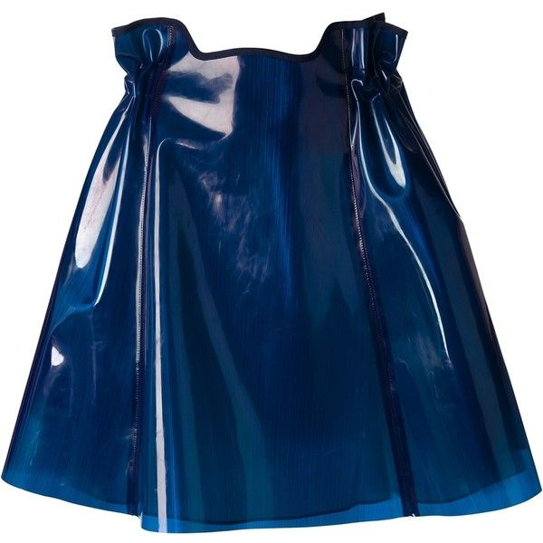 Julien David Shiny Ruched Skirt ($574) ❤ liked on Polyvore featuring skirts, bottoms, blue, high rise skirts, gathered skirt, high waisted flare skirt, shiny skirt and high waisted knee length skirt