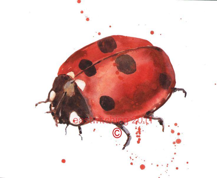 LADYBUG Watercolor Print, red and black, spotted, ladybug art, childrens art, nursery art, lady bug. $30,00, via Etsy.