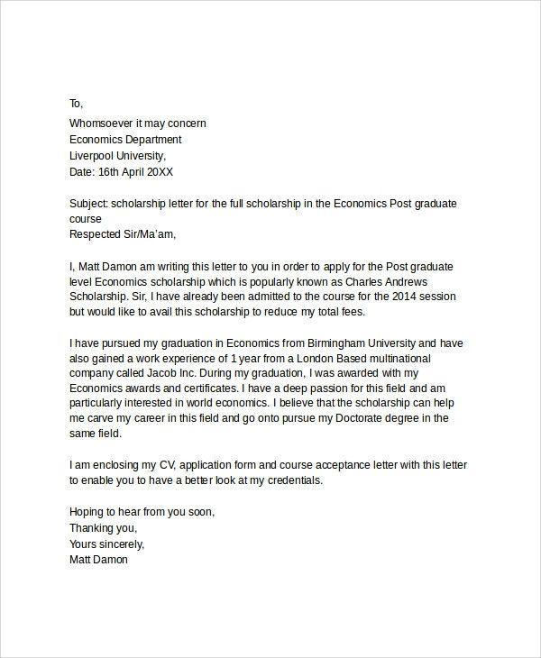 Scholarship Application Template Sample Application Letter