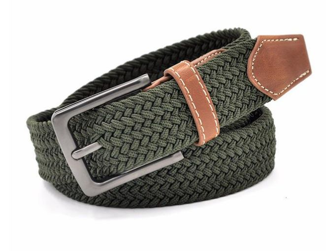 Green interwoven fabric belt sets you apart from the rest. Visit tungstenandcarbide.com for more fine wares.