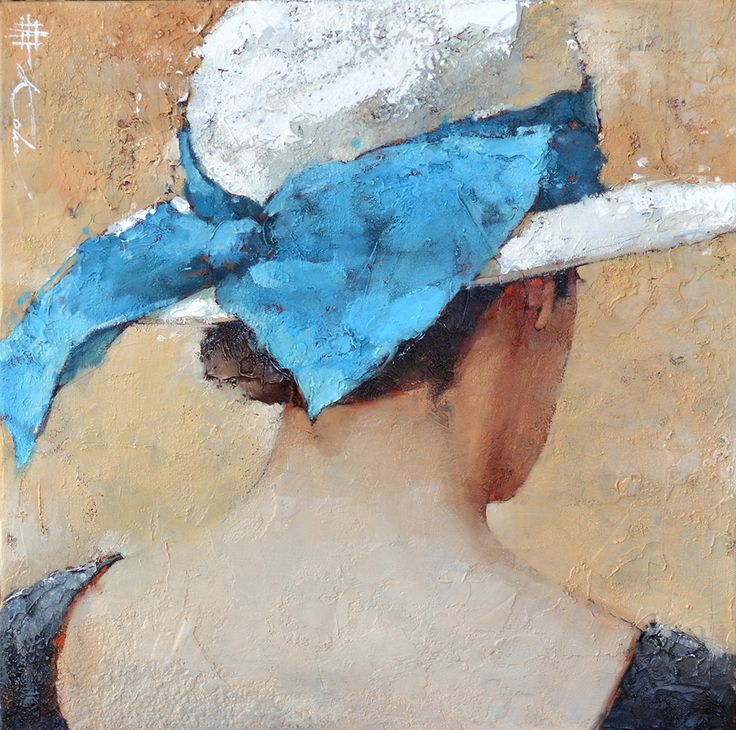 "Le Ruban Bleu 16"" x 16"" gallery wrapped canvas Oil Andre Kohn 2016  www.andrekohnfineart.com 480-970-4300"
