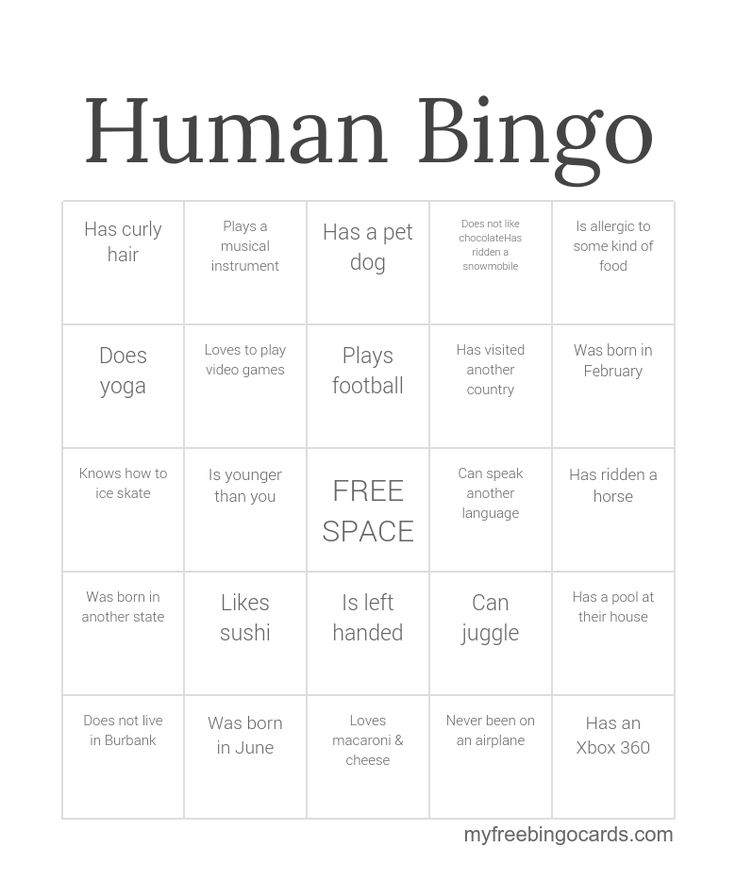 Free human Bingo icebreaker template. Click to make your own custom version.