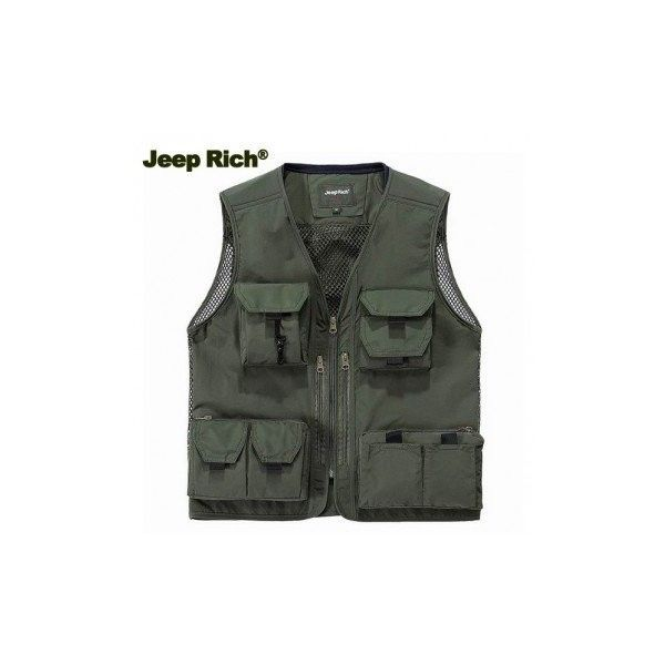 Jeep Rich Multi Pockets Sleeveless Mesh Vest Jacket Multi Functional... ($33) ❤ liked on Polyvore featuring men's fashion, men's clothing, men's outerwear, men's vests, green, men coats & jackets vests, mens summer vests, mens vest, mens green vest and mens sleeveless vest