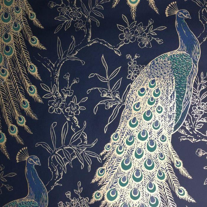 Metallic Peacock Wallpaper Navy Peacock Wallpaper Travel Themed Bedroom Wallpaper White blue gold peacock wallpaper