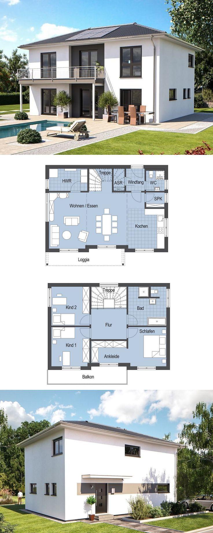 Moderne Stadtvilla – Einfamilienhaus Top Star S 149 Hanlo Haus – Fertighaus bauen moderne Architektur mit Walmdach Grundriss offene Küche Loggia Balkon – HausbauDirekt.de
