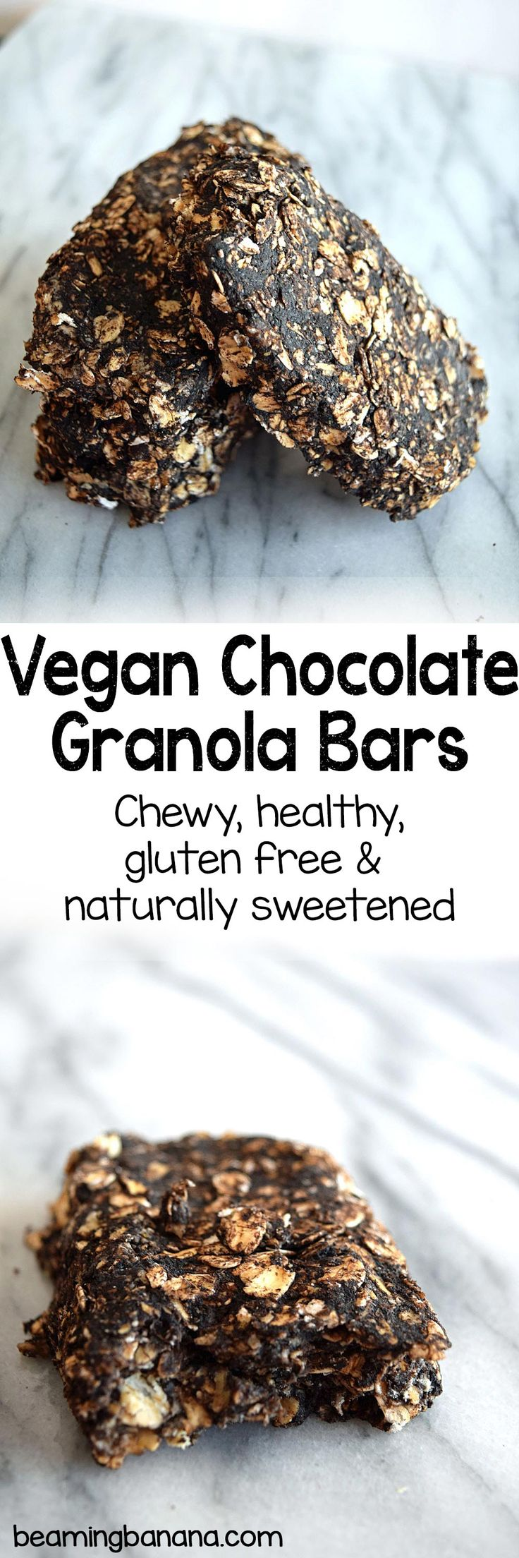 Vegan chocolate granola bars are chewy, super chocolatey and perfect for a sweet snack or dessert! Gluten free and sweetened naturally.   beamingbanana.com