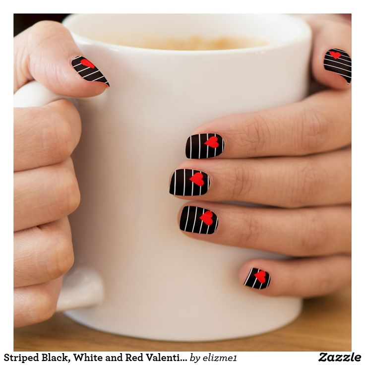 Trendy striped black, white and red Valentine Minx Nail Wraps #nailart #valentinesday #trending #black #heart #nailwraps #minx