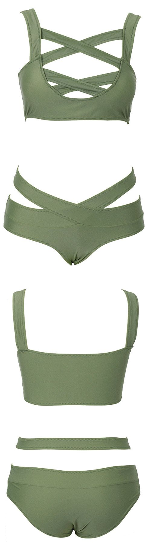 Dare to try something nontraditional? You better not miss this bikini. Olive green with front cross design make it special. Check this bikini at cupshe.com