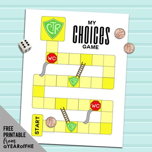 This is such a cute LDS board game! It's similar to Chutes and Ladders and helps teach kids about the consequences of their choices.