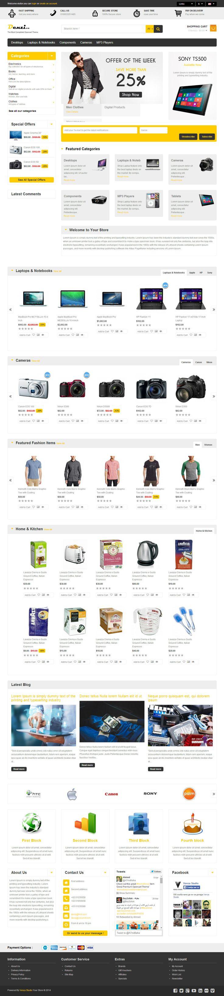 Denzi is Premium full Responsive OpenCart eCommerce Theme. Bootstrap Framework. Mega Menu. Page Builder. Master Slider.