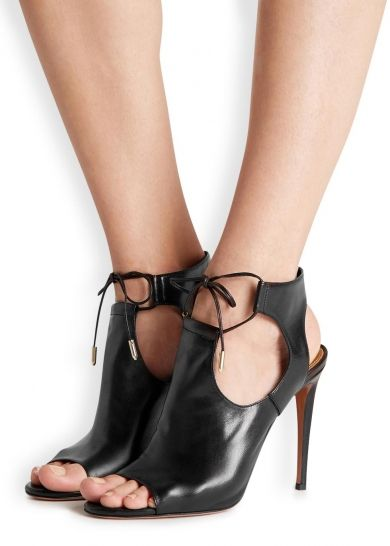 Jade black leather cut-out sandals