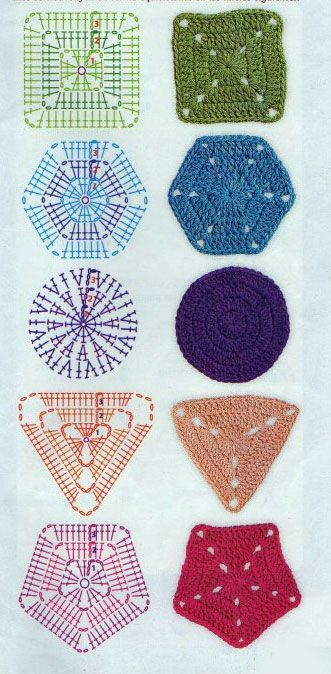 Basic geometric shapes in crochet; square, hexagon, circle, triangle and pentagon.: