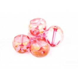 Table Cut Faceted Rounds -  Pink 12mm x1